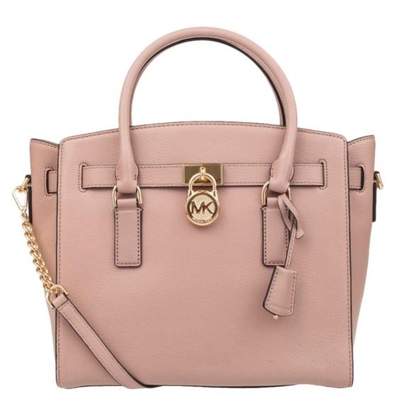 77d296514067bc Michael Kors Bags | Mk Hamilton Large Leather Satchel Fawn Nwd ...